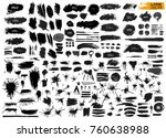 large set of black paint  ink... | Shutterstock .eps vector #760638988