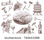 wine harvest products  press ... | Shutterstock .eps vector #760641088