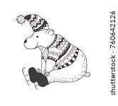 funny polar bear. nursery art.... | Shutterstock .eps vector #760642126