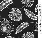 tropical palm leaves seamless... | Shutterstock .eps vector #760642750