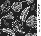 tropical palm leaves seamless... | Shutterstock .eps vector #760642753