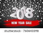 new year sale 2018 black... | Shutterstock .eps vector #760643398