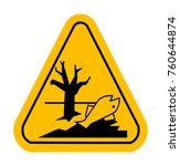 sign of poisonsous in yellow... | Shutterstock . vector #760644874
