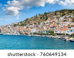 poros island in a summer day in ... | Shutterstock . vector #760649134