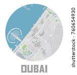 minimalistic dubai city map... | Shutterstock .eps vector #760654930