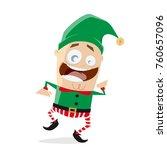 happy dancing christmas elf...   Shutterstock .eps vector #760657096