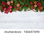 christmas background with... | Shutterstock . vector #760657690
