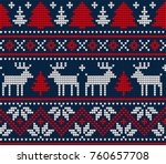 knitted christmas and new year... | Shutterstock .eps vector #760657708
