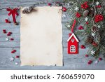 christmas wood background with... | Shutterstock . vector #760659070