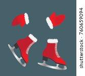 skates and gloves. footwear for ... | Shutterstock .eps vector #760659094