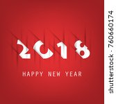simple red and white new year... | Shutterstock .eps vector #760660174