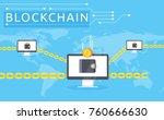 blockchain vector illustration... | Shutterstock .eps vector #760666630
