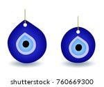 blue turkish evil eye bead  ... | Shutterstock .eps vector #760669300