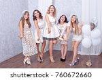 happy girls having fun drinking ... | Shutterstock . vector #760672660