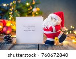 decorative santa claus carrying ... | Shutterstock . vector #760672840