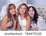happy girls having fun drinking ... | Shutterstock . vector #760675120