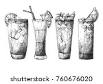 set of different glasses ... | Shutterstock .eps vector #760676020