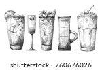 set of different glasses ... | Shutterstock .eps vector #760676026