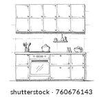 sketch of kitchen furniture on... | Shutterstock .eps vector #760676143
