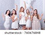 happy girls having fun drinking ... | Shutterstock . vector #760676848