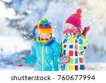 kids playing in snow. children... | Shutterstock . vector #760677994