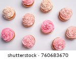 many yummy cupcakes on white... | Shutterstock . vector #760683670