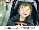 happy baby sitting in a... | Shutterstock . vector #760685170