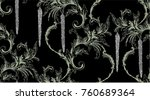winter pattern with baroque... | Shutterstock .eps vector #760689364
