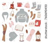 vector winter clothes warm set... | Shutterstock .eps vector #760690450