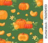 pumpkin vegetable vector... | Shutterstock .eps vector #760690453