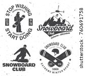 set of snowboard club insignia. ... | Shutterstock .eps vector #760691758