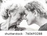 mature mother and daughter face ... | Shutterstock . vector #760693288