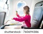 child in airplane. kid in air...   Shutterstock . vector #760694386
