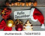 hello december  welcome winter... | Shutterstock . vector #760695853