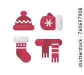 set of winter clothes flat... | Shutterstock .eps vector #760697908