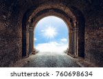 old tunnel with light on the...   Shutterstock . vector #760698634