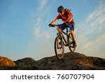 cyclist in red t shirt riding... | Shutterstock . vector #760707904