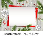 holiday christmas card with fir ... | Shutterstock .eps vector #760711399