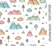 hand drawn seamless pattern... | Shutterstock .eps vector #760719928