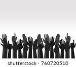 hands up colors  voting hand... | Shutterstock .eps vector #760720510