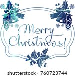 christmas label with silhouette ...   Shutterstock .eps vector #760723744