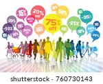 sale. colorful shopping crowd.... | Shutterstock .eps vector #760730143