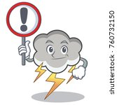 with sign thunder cloud... | Shutterstock .eps vector #760732150