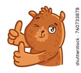 cute grizzly bear  thumbs up ... | Shutterstock .eps vector #760733878