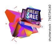 vector abstract 3d great sale... | Shutterstock .eps vector #760734160