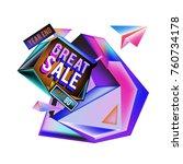 vector abstract 3d great sale... | Shutterstock .eps vector #760734178