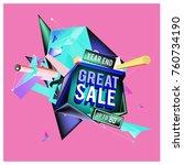 vector abstract 3d great sale... | Shutterstock .eps vector #760734190