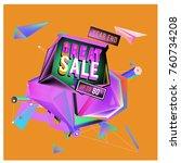 vector abstract 3d great sale... | Shutterstock .eps vector #760734208