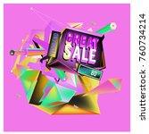 vector abstract 3d great sale... | Shutterstock .eps vector #760734214