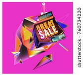 vector abstract 3d great sale... | Shutterstock .eps vector #760734220